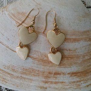 Vintage White Enamel Heart Dangle Earrings